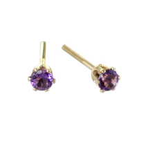 14K_Yellow_Gold_Child's_Amethyst_Earrings