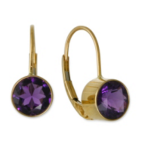 14K_Yellow_Gold_Round_Faceted_Bezel_Set_Amethyst_Drop_Earrings