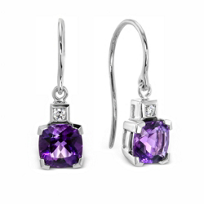 14K_White_Gold_Checkerboard_Cushion_Amethyst_and_Round_Diamond_Drop_Earrings