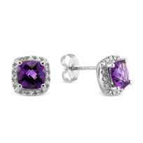 14K_White_Gold_Checkerboard_Amethyst_and_Round_Diamond_Halo_Earrings