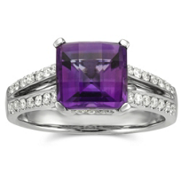 14K_White_Gold_Square_Checkerboard_Amethyst_and_Round_Diamond_Ring