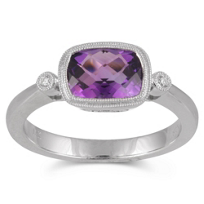 14K_White_Gold_Checkerboard_Cushion_Amethyst_and_Round_Diamond_Bezel_Set_Ring