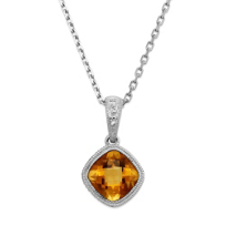 14K_White_Gold_Cushion_Checkerboard_Citrine_Bezel_Set_Pendant