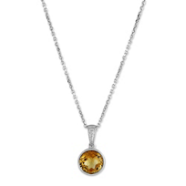 14K_White_Gold_Checkerboard_Faceted_Citrine_Pendant
