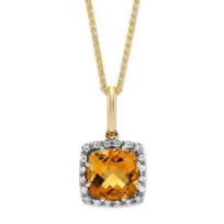14K_Yellow_Gold_Cushion_Citrine_and_Round_Diamond_Frame_Pendant