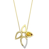 14K_Yellow_Gold_Pear_Shape_Citrine_and_Round_Diamond_Floral_Pendant