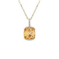 14K_Yellow_Gold_Cushion_Citrine_and_Round_Diamond_Pendant