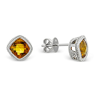 14K_Cushion_Checkerboard_Citrine_Bezel_Set_Earrings