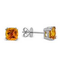 14K_White_Gold_Checkerboard_Cushion_Cut_Citrine_Stud_Earrings