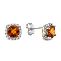 14K_Yellow_and_White_Gold_Checkerboard_Citrine_and_Diamond_Frame_Earrings