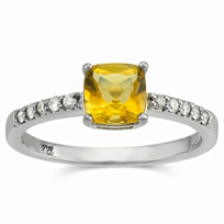 14K_White_Gold_Cushion_Citrine_and_Round_Diamond_Ring