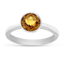 14K_White_Gold_Round_Checkerboard_Faceted_Citrine_Ring