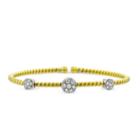 18K_Yellow_and_White_Gold_Flexible_Three_Diamond_Station_Bangle_Bracelet