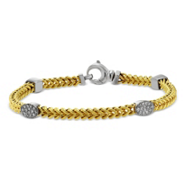 14K_Yellow_and_White_Gold_Diamond_Station_Bracelet,_7.5""