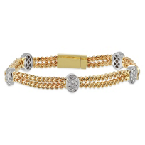 14K_Yellow_and_White_Gold_Two_Row_Diamond_Station_Bracelet,_7.25""