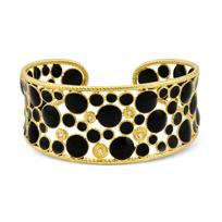 Roberto_Coin_18K_Yellow_Gold,_Diamond_and_Black_Enamel_Bollicine_Cuff_Bracelet