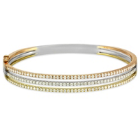 18K_Yellow,_White_and_Rose_Gold_Three_Row_Diamond_Bangle_Bracelet
