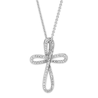 14K_White_Gold_Diamond_Palm_Cross_Pendant