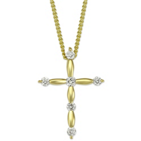 18K_Yellow_Gold_Scalloped_Diamond_Cross_Pendant,_0.11cttw