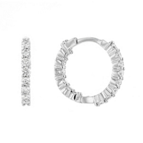 Roberto_Coin_18K_White_Gold_Extra_Small_Diamond_Hoop_Earrings,_2/3""