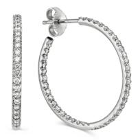 """Roberto_Coin_18K_White_Gold_Diamond_Hoop_Earrings,_1"""""""