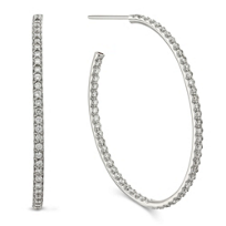 Roberto_Coin_18K_White_Gold_Diamond_Oval_Hoop_Earrings,_1_1/3""