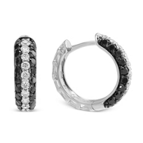 14K_Black_and_White_Diamond_Hoop_Earrings,_1/2""