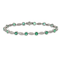 14K_White_Gold_Round_Emerald_and_Round_Diamond_Bracelet,_7_1/2""