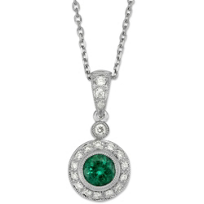 14K_White_Gold_Round_Emerald_and_Round_Diamond_Pendant