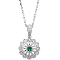 14K_White_Gold_Round_Emerald_and_Diamond_Floral_Pendant