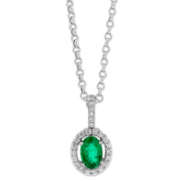 14K_White_Gold_Oval_Emerald_and_Round_Diamond_Pendant