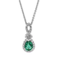 14K_White_Gold_Pear_Shape_Emerald_and_Round_Diamond_Pendant