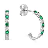 14K_White_Gold_Round_Emerald_and_Round_Diamond_J-Hoop_Earrings