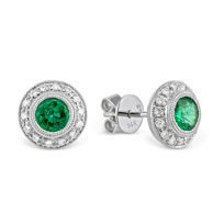 14K_White_Gold_Round_Emerald_and_Round_Diamond_Bezel_Earrings