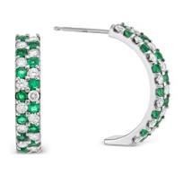 14K_White_Gold_Emerald_and_Diamond_Two_Row_Earrings