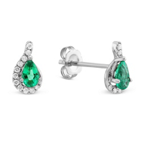 14K_White_Gold_Pear_Shape_Emerald_and_Round_Diamond_Earrings