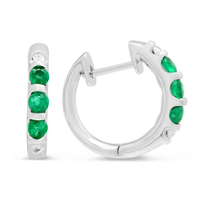 14K_White_Gold_Emerald_and_Diamond_Hoop_Earrings