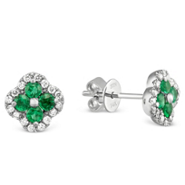 14K_White_Gold_Emerald_and_Diamond_Flower_Earrings