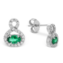 14K_White_Gold_Oval_Emerald_and_Round_Diamond_Earrings