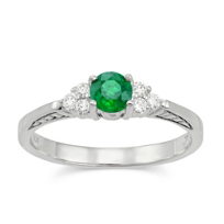 14K_White_Gold_Round_Emerald_and_Round_Diamond_Ring