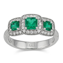 Christopher_Designs_18K_White_Gold_Emerald_Cut_Emeralds_and_Round_Diamond_Ring