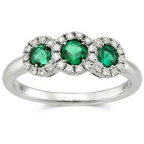 18K_White_Gold_Three_Round_Emerald_and_Round_Diamond_Halo_Ring