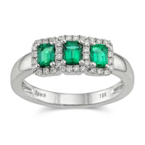 18K_White_Gold_Emerald_Cut_Emerald_and_Round_Diamond_Ring