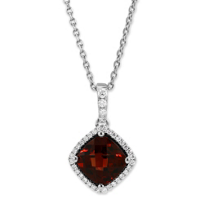 14K_White_Gold_Cushion_Checkerboard_Garnet_and_Round_Diamond_Pendant