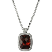 14K_Cushion_Checkerboard_Garnet_and_Round_Diamond_Bezel_Set_Pendant