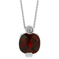 14K_White_Gold_Checkerboard_Cushion_Garnet_and_Round_Diamond_Pendant
