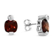 14K_White_Gold_Cushion_Checkerboard_Garnet_and_Round_Diamond_Earrings