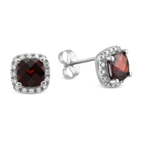 14K_White_Gold_Checkerboard_Cushion_Garnet_and_Round_Diamond_Earrings