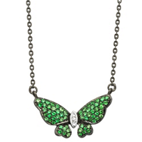 Sterling_Silver_&_Black_Rhodium_Tsavorite_and_White_Sapphire_Butterfly_Necklace,_18.5""