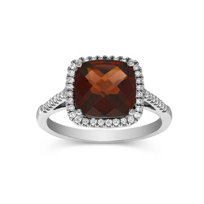 18K_White_Gold_Cushion_Checkerboard_Garnet_and_Round_Diamond_Ring,_9mm